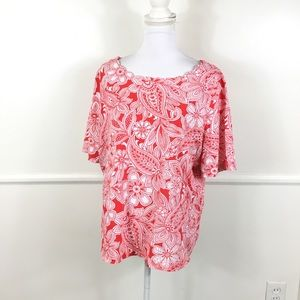 Talbots Scalloped Neck Red Floral Tee Womens 2X